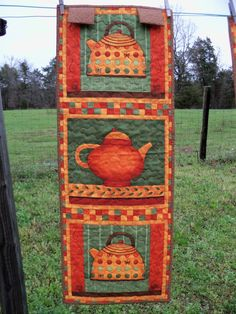 Whimsical Tea Party Wall Hanging Teapots by PerfectStitches, $28.00