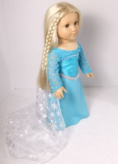 Disney Elsa Dress by Fashionsfordolls2 on Etsy, $35.00 American Girl Crafts, American Girls, Disney Elsa Dress, Doll Costume, Costumes, Journey Girls, Our Generation Dolls, Dyi Crafts, Doll Stuff