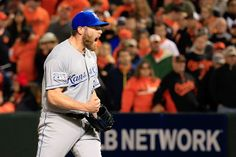 Greg Holland of the Royals celebrates after closing out the ninth inning to defeat the Orioles 6-4 in game two of the American League Championship Series Oct. 11 in Baltimore.