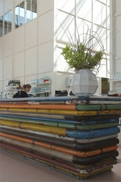 Reception desk colorful painted tubular metal