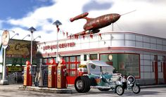 gas stations   1950's Gas Station by Scott Padbury - created with LightWave 3D software (www.lightwave3d.com)