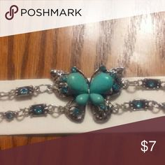 Butterflies Bracelet Silver and teal butterflies Teal stones Clasp Closure New Jewelry Bracelets