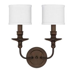 "View the Capital Lighting 1232-451 2 Light 17"" Tall Wall Sconce with White Fabric Shade from the Midtown Collection at LightingDirect.com."
