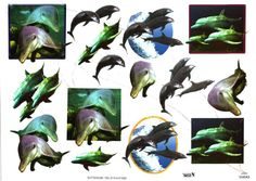 3D embossed & gilded TBZ decoupage - dolphins 504543