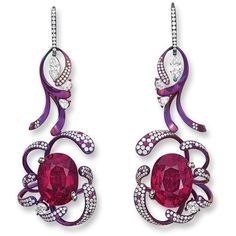 PAIR OF RUBELLITE AND DIAMOND PENDENT EARRINGS, TSAI AN HO