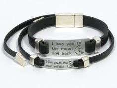 I Love You To The Moon And Back * couples bracelet * aluminum jewelry * personalized couples jewelry * engraved leather bracelet for couples