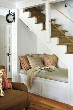 18 Useful Designs for Your Free Under Stair Storage Take advantage of unused space under the basement stairs with these inexpensive (and DIY! Under Stairs Nook, Open Basement Stairs, Basement Apartment, Basement Bathroom, Apartment Ideas, Basement Gym, Basement Windows, Attic Stairs, Attic Bathroom