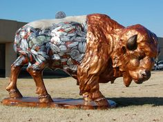 """Buffalo Stampede painted buffalo. - """"Copper"""" Sponsor: Arvest Bank Artist: Cindy Bennett Located at Arvest Bank, 4225 Southeast Adams Road"""