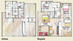 Apê carioca de 86 m² tem decoração jovem e descolada. Quando Luciana e Filipe adquiriram o apartamento, ele tinha três quartos e um deles já estava integrado à sala. O casal conquistou uma suíte ao incorporar o banheiro social (1) e transformar dois armários embutidos (2) em closet. Para aumentar a área de jantar, a cozinha (3) diminuiu e ganhou porta de correr. A despensa foi aberta (4) e, somada à parte do quarto da empregada (5), deu origem a um banheiro social.