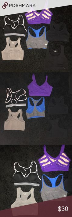 6 Sports Bras ⭐️all worn & washed a handful of times but in good & wearable condition! i have glitter on my floor so that's what you see in some pics, it reflected from my phones flash lol.  ⭐️SIZES: Grey: small. Black & white: 34b. Purple: medium. Grey & blue (reversible): small. 1 Plain black= medium. 2 Plain black=large. I'm a size medium/ 34b & they all fit me just to give you a size reference. Other