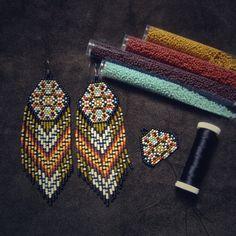 Pine Ridge..Beaded Fringe Earrings Native American by hoofandarrow