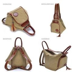 Multi Functional Women's Canvas Tassel Backpack Handbags Shoulder Bag – Khaki, – purses and handbags diy Trendy Purses, Cheap Purses, Cheap Bags, Unique Purses, Fall Handbags, Purses And Handbags, Backpack Handbags, Luxury Handbags, Cheap Handbags