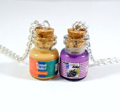 Peanut Butter and Jelly Jar Necklace Set, Best Friend's BFF Necklaces, Cute :D from aLilBitOfCute on Etsy