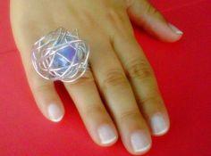 """sitio de internet gratisAnillo colección """"Tramuntana"""" cristal azul pineado  desde www.artesbazar.es.tl"""