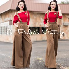 Le Palais Vintage Retro Brown Wide Leg High Waist Bib Pants - Designed by Winny Vintage Pants, Vintage Outfits, Vintage Fashion, Cheongsam, Hanfu, Pin Up Outfits, Fashion Outfits, Trajes Pin Up, Holiday Outfits