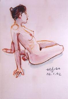 Bild:  Hajo Horstmann - Auf dem Unterschenkel sitzender weiblicher Akt, Oberkörper nach hinten geneigt, ...