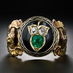 Emerald, Diamond, and Black Enamel Angelic Poison Ring Enamel Jewelry, Bling Jewelry, Custom Jewelry, Antique Jewelry, Jewelry Box, Vintage Jewelry, Gothic, Locket Design, Poison Ring