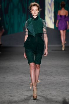 Cypress green guipure cropped sleeveless chili jacket over cypress green silk chiffon sleeveless wrap top with cypress green chantilly hand-pieced lace t-shirt over cypress green guipure Bermuda   Photography: Dan Lecca