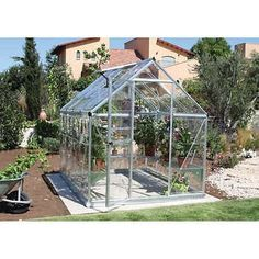 Harmony x Greenhouse with Starter Kit Clear Impact Resistant Polycarbonate Panels Includes Starter Kit: Heavy Duty Shelf, Automatic Vent Opener and Plant Hangers