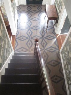 Chris Pearson painted floors ... {maybe just the entry platform, not the entire hallway}