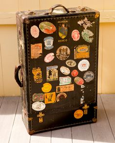 Vintage suitcase covered in travel stickers Vintage Suitcases, Vintage Luggage, Vintage Travel, Kelly Wearstler, American Retro, Vintage Steamer Trunk, Puppy Backpack, Chocolate Lab Puppies, Travel Luggage