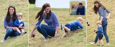 Prince George sits on slim mother Kate Middleton's knee six weeks after Princess