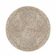 """Round Placemat Woven Rattan- White Wash 15"""""""