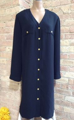 8b5b339380a7d Knee Length Polyester Solid Work Shirt Dresses for Women
