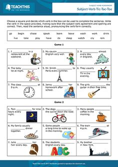Subject-verb agreement interactive and printable PDF worksheets, ESL games and activities for teachers to use in class or online with and levels. Subject Verb Agreement Rules, Subject And Verb, English Grammar Exercises, English Grammar Worksheets, Help Teaching, Teaching Reading, Simple Subject, Verb Forms, Grammar Activities