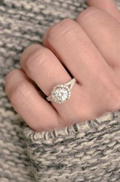Round, halo diamond wedding ring via JamesAllenRings / http://www.deerpearlflowers.com/halo-engagement-rings-wedding-rings/ #weddingring