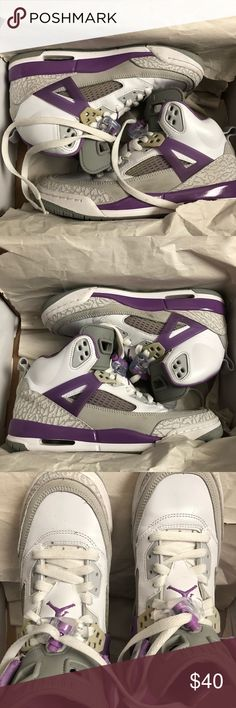 Jordan Spizike Girls Jordan Spizike  White/Violet/Grey All flaws have been pictured They are in EXCELLENT condition  They still have the box that they came in as well Jordan Shoes Sneakers