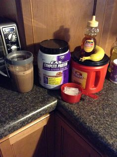 Protien banana frappe shake. One scoop protein powder your choice , one cup cold coffee , one/two cup ice , one tsp honey or Carmel syrup. Blend in nutribullet or blender.