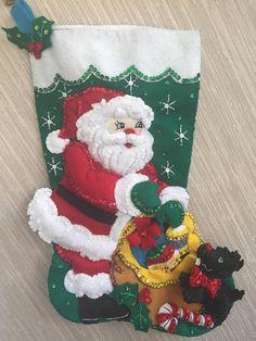 Santa con Scottie Dog completado media fieltro hecho a mano de