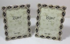 Bijou Frames Genuine Crystal With Gem Accents New Mini Photo, Bordeaux, Picture Frames, Gems, Crystals, Store, Modern, Cards, Leather