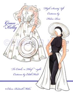 Grace Kelly Paper Doll by PaperDollsbyERMiller on Etsy