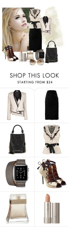 """""""Untitled #380"""" by perles ❤ liked on Polyvore featuring Bouchra Jarrar, Givenchy, Burberry, Morgan, Malone Souliers, Ellen Tracy, Ilia and Tom Ford"""
