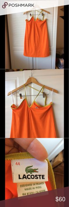 Lacoste Mini Halter Dress EUC.  Lacoste fitting mini (just above the knee) Halter dress;  orange with avocado green straps.  This run small.  I wear a Large and this is a size 44(XXL).  Please see Lacoste's size chart. Lacoste Dresses Mini
