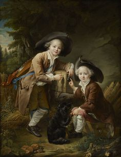 c. 1758, called The Comte and Chevalier de Choiseul as Savoyards, by Francois-Hubert shows two working class French boys.