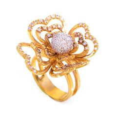 A little BIGGER than my usual but fab. 18K Yellow Gold Diamond Flower Ring. $750.00, via Etsy.