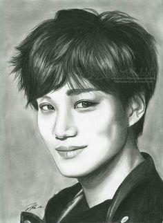 Kai by FallThruStardust Kpop Drawings, Cool Art Drawings, Amazing Drawings, Colorful Drawings, Art Sketches, K Pop, Exo Kai, Suho, Kai Arts