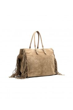 11e13d5e521 Handbag in walnut leather with fringes.