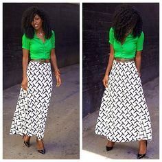 Button-Up Shirt   Printed Swing Skirt. Details on stylepantry.com #Padgram