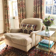 Curtains in Benaki by @LewisandWood  Kingston armchair from @Lorfordsantiq in Virginie Ticking by Ralph Lauren  Susani cushions by @SusanDeliss
