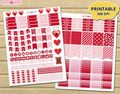 February monthly kit Valentine theme - Printable Planner Stickers for Erin condren - printable Planner and organize ❤❤❤ Instant download!!!. Recibiras