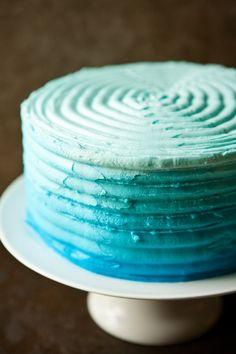 Blue Ombre Cake by EclecticRecipes.com #recipe