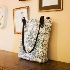 Tote shoulder bag toile de jouy french pattern. Green toile pattern and Leather straps. Handmade.  https://www.etsy.com/listing/222106254/tote-bag-toile-de-jouy-pattern-french?ref=shop_home_active_1