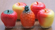 Vintage Hazel Atlas Jam Jars — Strawberry, Pineapple & Apple