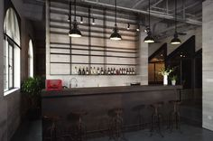 awesome lights and bar top for the common area .. Flamingo Office - Asylum