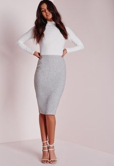 1150305228 Work your basic s to the absolute MAX this season! This super thick raw  edge jersey ribbed midi skirt is perf for any occasion. Team with a grey  bodysuit ...