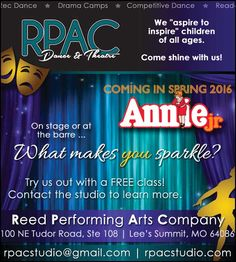 Come and enjoy RPAC's new show Annie!!  // For more family resources visit www.ifamilykc.com! :)